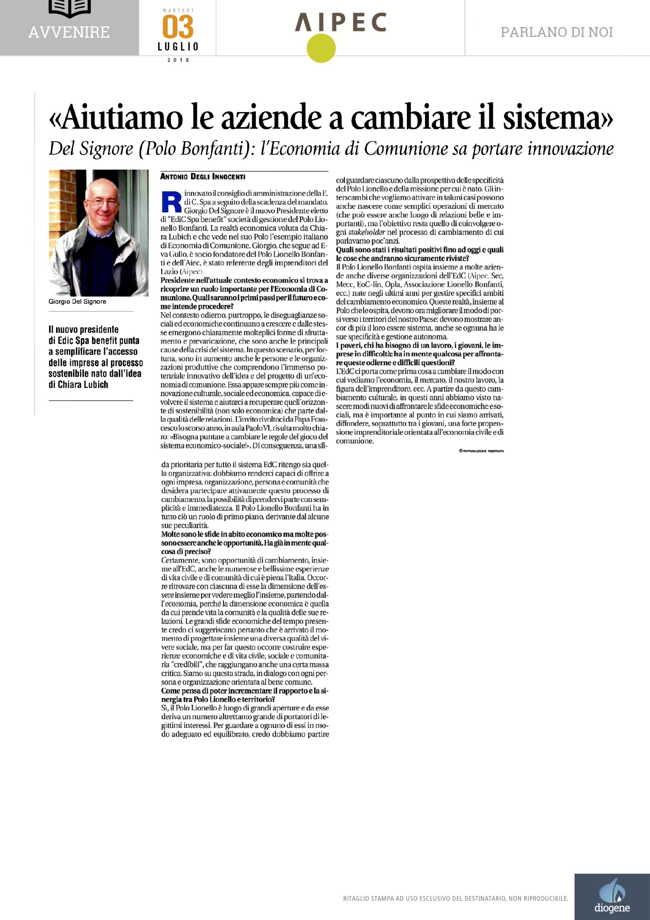 20180703_Info AIPEC-EdC_Avvenire_Intervista Giorgio Del Signore